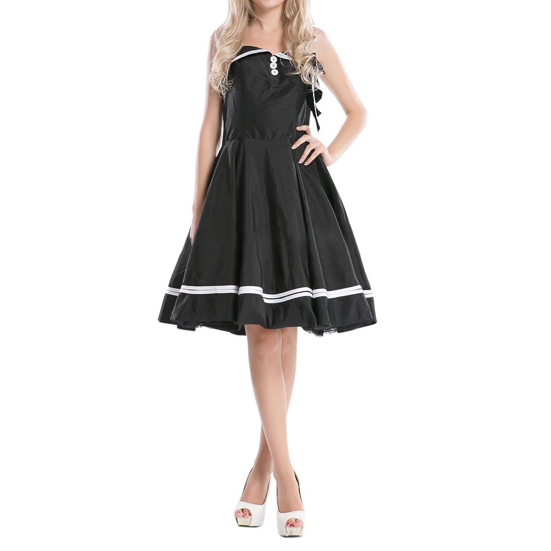 Sue&Joe Women's Vintage Dress Halter Low Back Swing Rockabilly 1950s Cocktail Dress