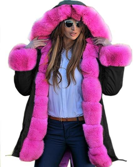 Roiii femmes Manteau d'hiver chaud et épais en fausse