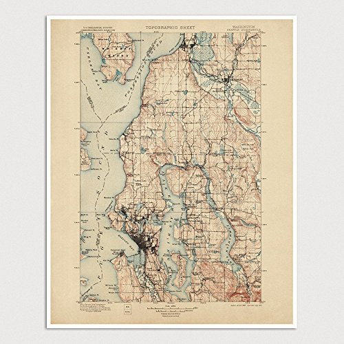 Old Seattle Map Art Print 1897 - USGS Topographic Map - Archival Reproduction - 1897 Map