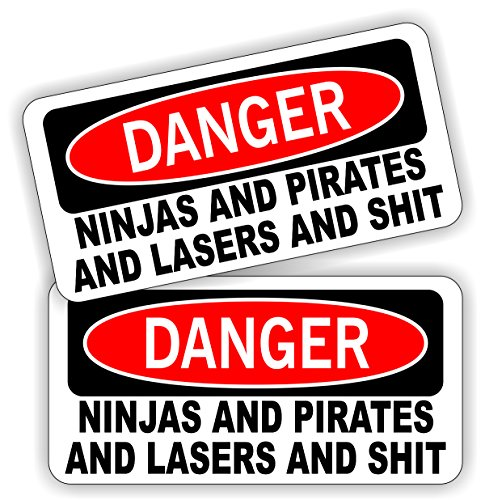 (2) Ninjas Pirates Lasers and $hit Funny Hard Hat Stickers | Motorcycle Helmet Decals | Dirt Bike Labels Toolbox