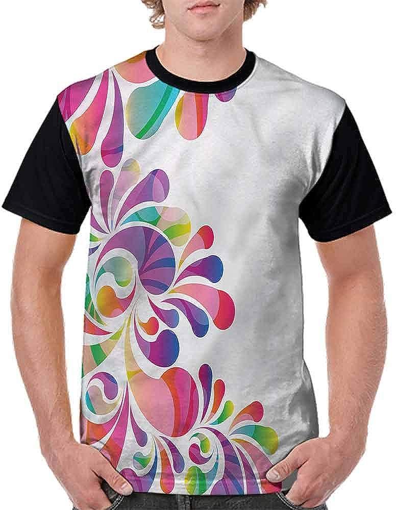 Round Neck T-Shirt,Curvy Floral Design Fashion Personality Customization