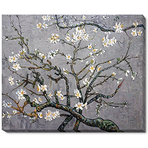 Painted Original Artwork - La Pastiche Branches Of An Almond Tree In Blossom, Pearl Grey Framed Hand Painted Original Artwork With Gallery Wrap