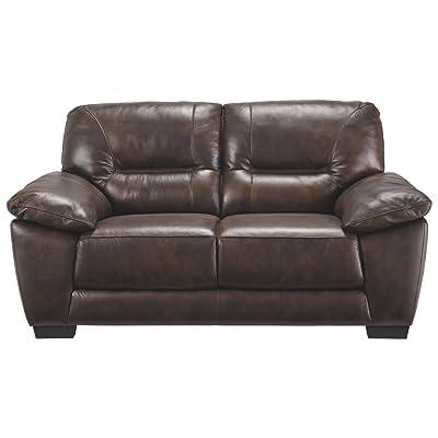 ashley furniture signature design mellen contemporary leather loveseat walnut brown