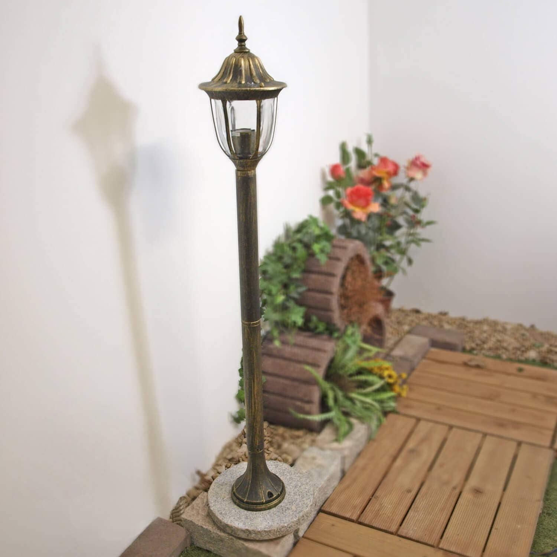 Rustikale Stehlampe Aussen Gold Antik Wetterfest E27 1 2m Hoch