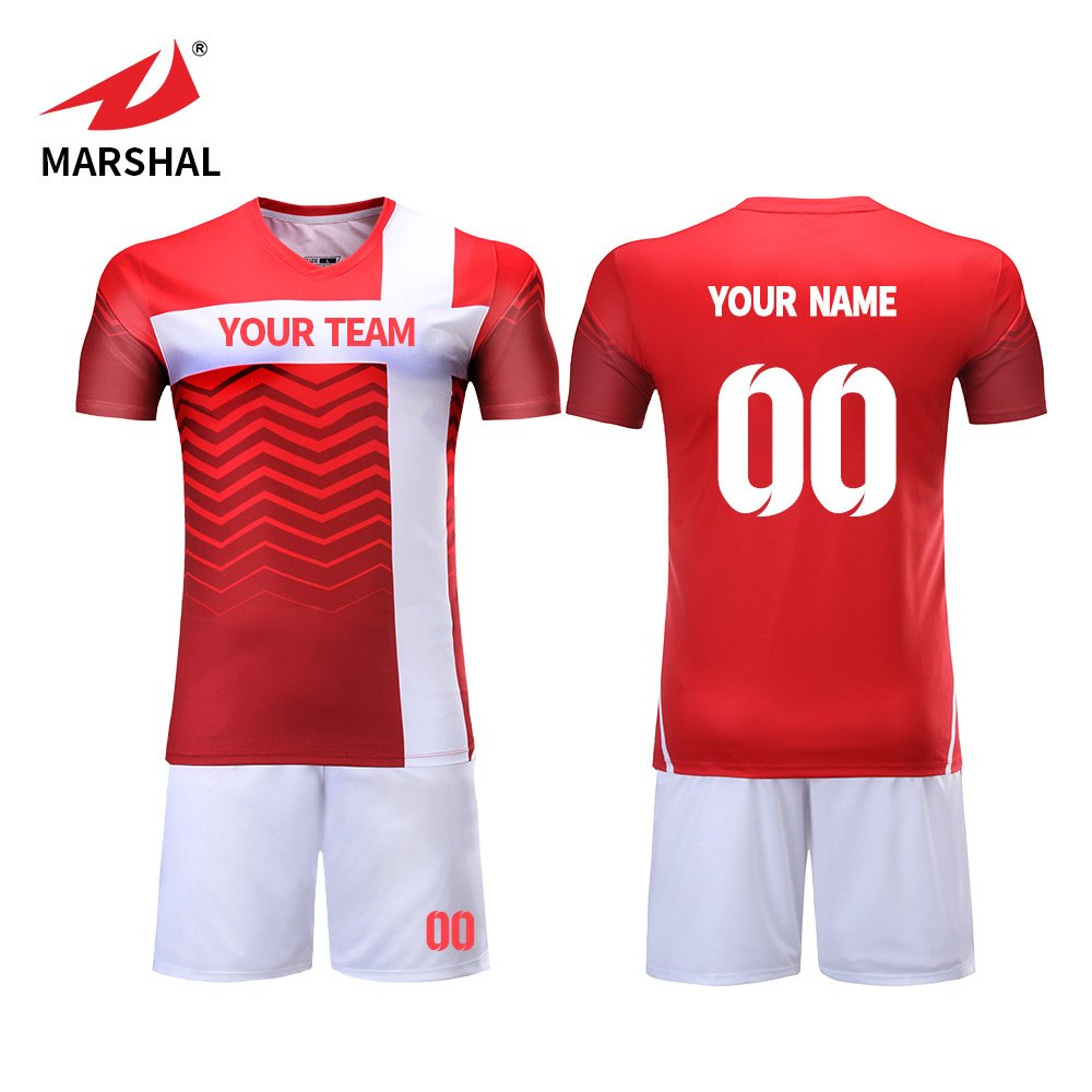 Amazon Marshal Jersey Soccer Uniforms Blue And Red Jersey