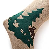 "SANNO 18"" Burlap Christmas Stockings, Tree Woods and Reindeer with Red Plaid Tartan Cuff Trendy Craft Socks Design"