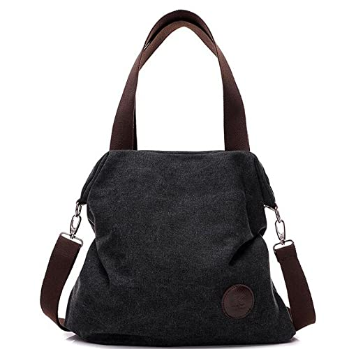 94b0425cc615 Amazon.com  Simple Style Women s Handbag Canvas Shoulder Crossbody Bag Hobo  Purse Large Casual Bag (Black)  Shoes