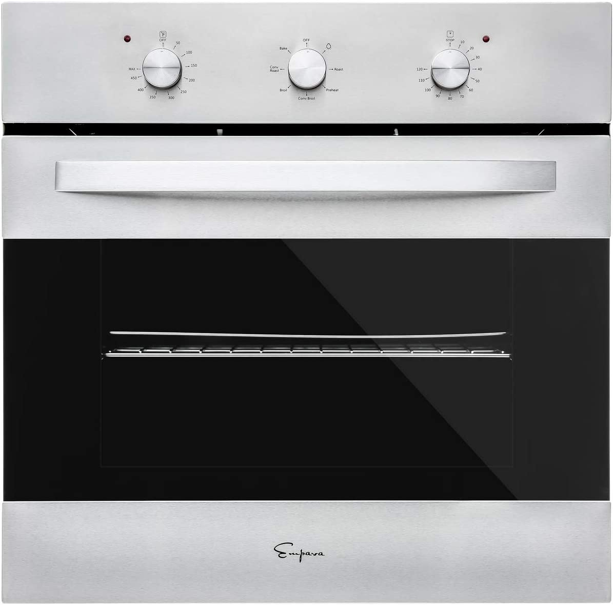 Empava 24 in. Electric Single Wall Oven Convection with 6 Cooking Functions Mechanical Knobs Control in Stainless Steel Model 2020, B14, Silver