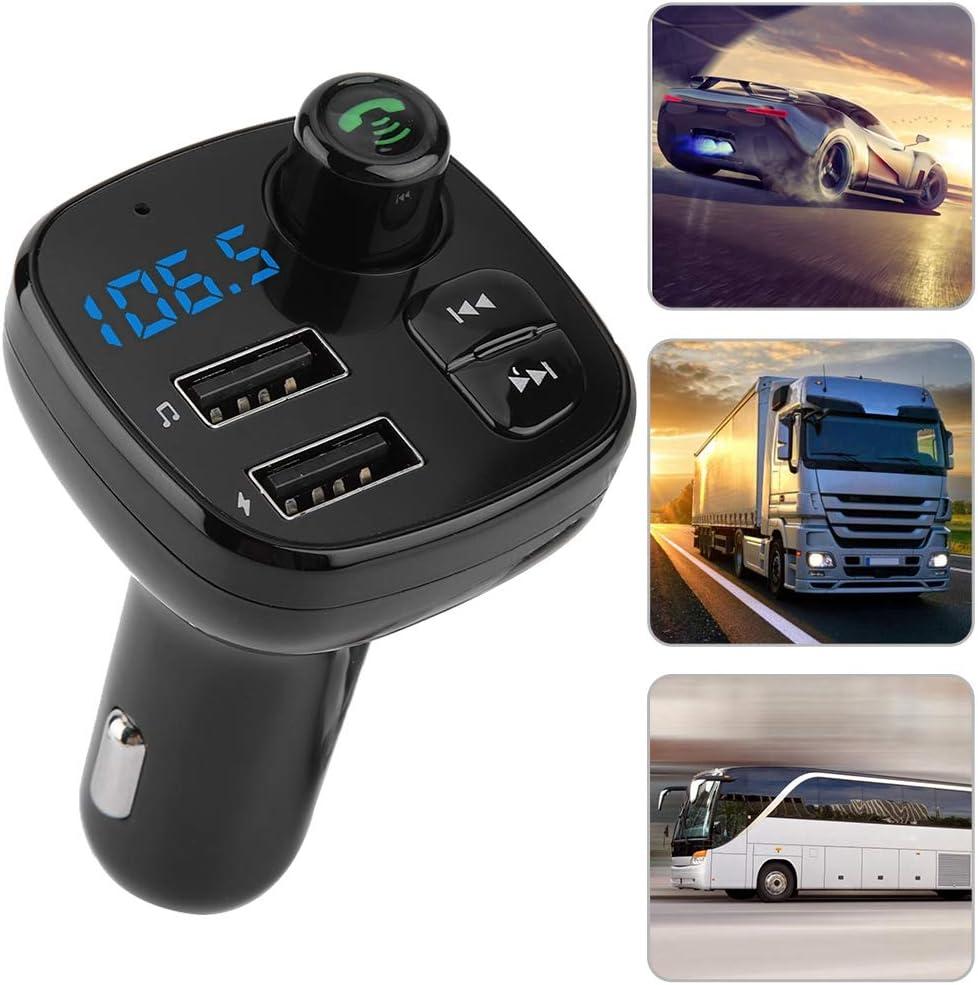 Cargador de Coche Doble Carga r/ápida Llamada por USB Manos Libres Reproductor de MP3 BT Transmisor de FM Equipo para Auto