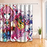 ChuaMi Polyester Fabric 69 x 70 Inches Shower Curtain Mildew Resistant Waterproof Bathroom Decoration Curtains with Hooks (Anime Two Meta Music Girl)