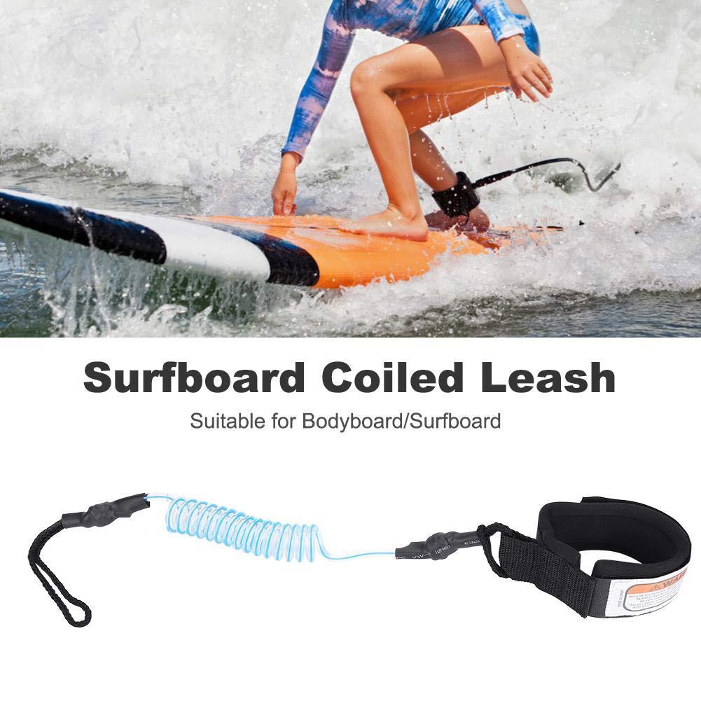Alomejor Guinzaglio per tavola da Surf Blu Stand Up Paddle Board 5mm Premium Tavola da Surf Guinzaglio con Molla a Molla SUP Corda da Gamba