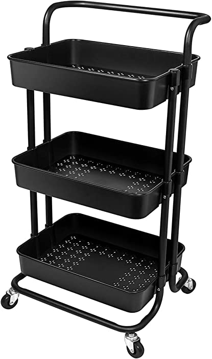 Homemaxs 3 Tier Utility Cart – Heavy Duty Rolling Cart with Handles and Roller Wheels Storage Cart for Kitchen, Coffee Bar, Microwave Cooking Station, Storage, Office, Bathroom (Black)