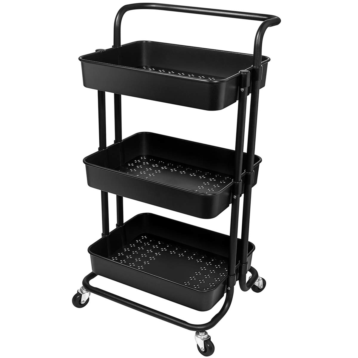 Homemaxs 3 Tier Utility Cart - Heavy Duty Rolling Cart with Handles and Roller Wheels Storage Cart for Kitchen, Coffee Bar, Microwave Cooking Station, Storage, Office, Bathroom (Black)