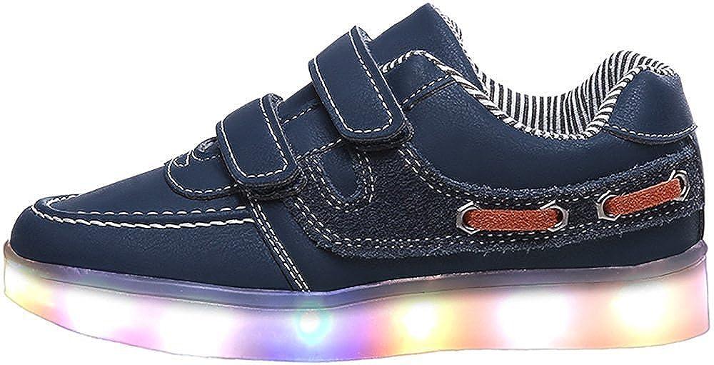 Toddler//Little Kid//Big Kid Ashely Store LED Light Up Shoes Boy Girl Multicolor Revolving Boat Sneakers