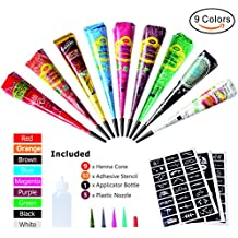 Henna Tattoos Kits -9 Color Temporary Henna Tattoo Paste Cone with 53 x Adhesive Stencil, 1 x Applicator Bottle and 5 x Plastic Nozzle