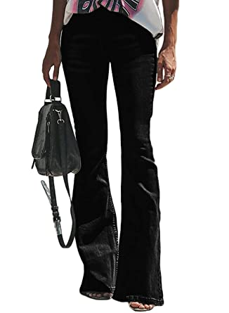 da9ed9beacf23 Dokotoo Womens Fashion Ladies Classic Solid Mid Rise 5 Pockets Fitted Flare  Bell Bottom Denim Jeans