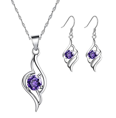 ladies silver Diamond Accent Amethyst angel Tianyu Set Earring+Pendant Necklace SmTpX