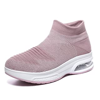Women's Slip on Walking Shoes - Mesh Breathable Air Cushion Work Nursing Shoes Easy Casual Sneakers Pink