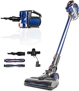 SAMBA Aspirador Vertical y de Mano Sin Cable Aspira Pro. Aspirador Escoba con Cepillo Motorizado Flexible 180º, Luz LED, 2 Niveles Potencia, Boquilla Combinada, Soporte de Pared, 150W, Plástico, Azul