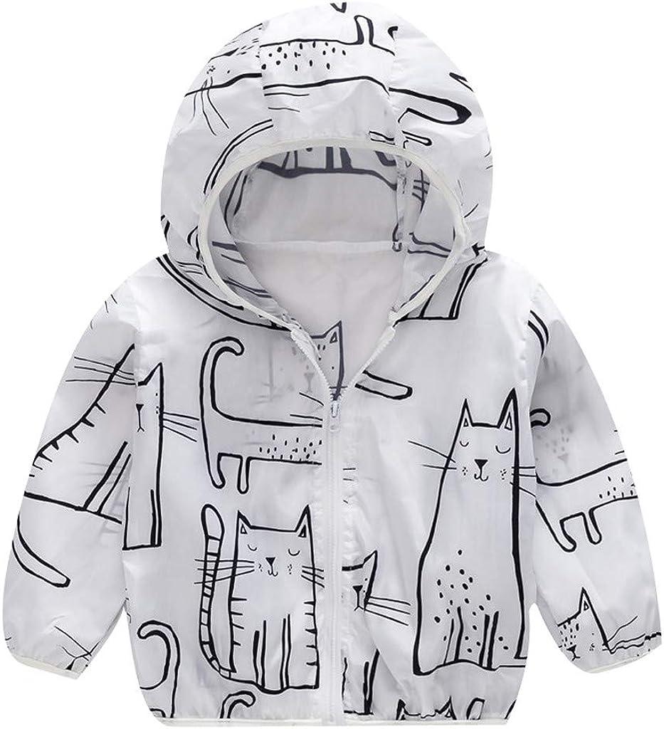 RAINED-Unisex Kids Sun Protection Zipper Hoodie Coat Cartoon Ultrathin Windbreaker Jacket Outerwear for Travel Beach