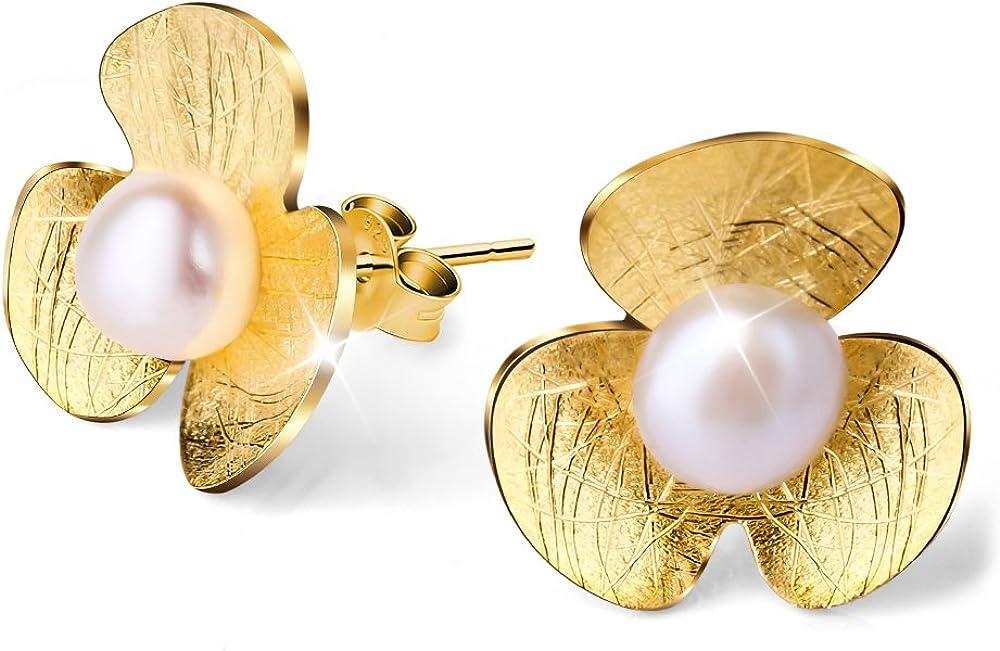 Lotus Fun S925 Pendientes de tuerca de plata de ley con flor de tr¨¦bol fresco con perla de agua dulce para mujeres y ni?as, hecho a mano joyer¨ªa ¨²nica (oro)
