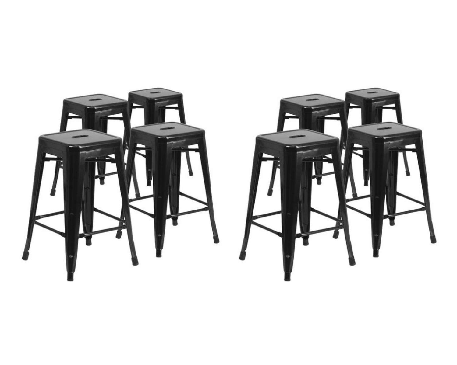 Flash Furniture. 24'' High Backless Black Metal Indoor-Outdoor Counter Height Stool with Square Seat (8 Pack, Black)