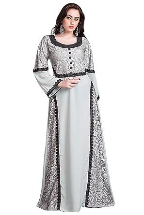 1c4fc543a5 Kolkozy Fashion Women s Kaftan Arabic Evening Dress with Net Brasso and  Black Lace Work Grey Size