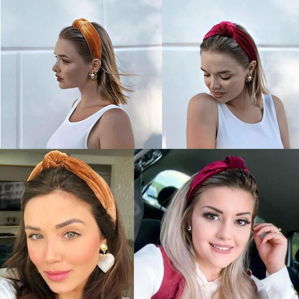 Banda el/ástica de pelo ancho Turbante Cinta antideslizante Diademas anudadas para mujer Chica 10 piezas Diademas de nudo de punto de terciopelo