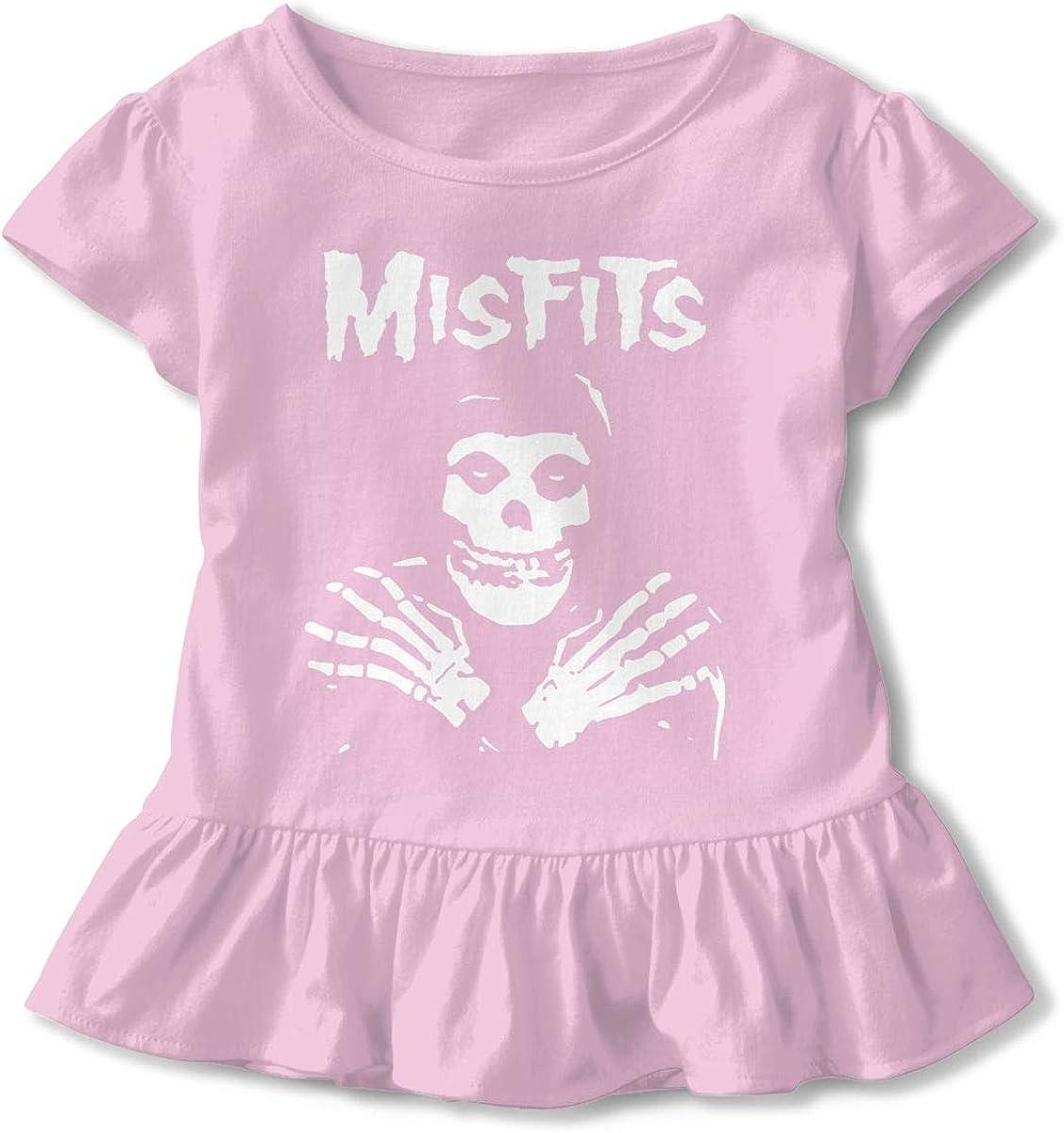 LarryGThatcher Misfits 2-6 Years Old Girl Short Sleeve Ruffle Dress T Black