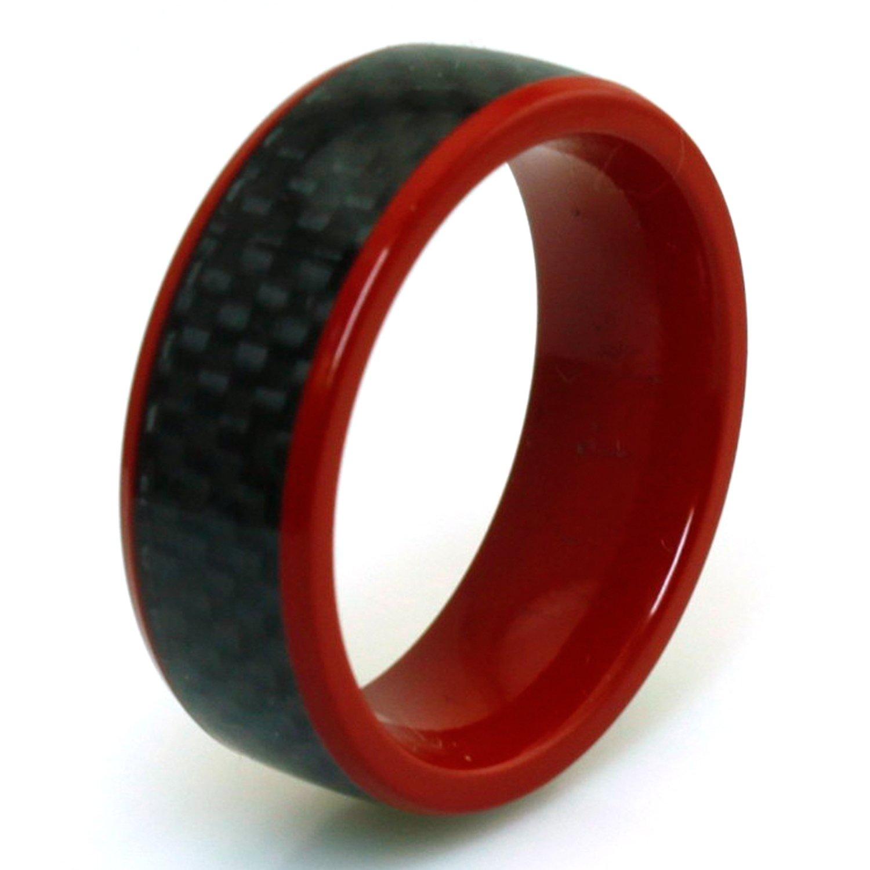 Tioneer rosso rivestito in titanio nero in fibra di carbonio intarsio anello R20402