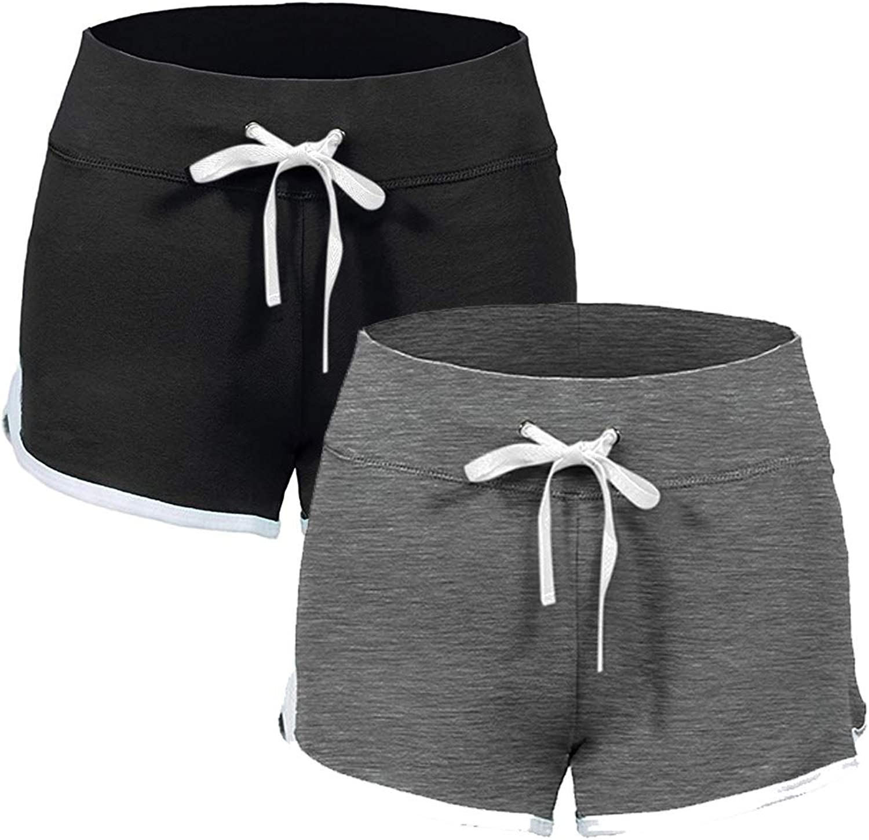 Sikedi Womens Running Workout Shorts Yoga Sport Fitness Short Pant Elastic Waist