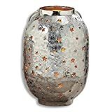 The Rustic Farmhouse Silver Star Hurricane Candle Windlight Lantern, Punched Metal, Cast and Hammered Silver Aluminum, 9 ½ Inches Tall, By Whole House Worlds Review