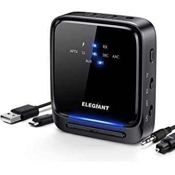 ELEGIANT Bluetooth 5.0 Transmitter Receiver, Wireless Audio Adapter Pair 2 at Once aptX HD/aptX LL with LED Indicator, Built-in Microphone, Optical TOSLINK/3.5mm AUX/RCA for TV Car Home Stereo System
