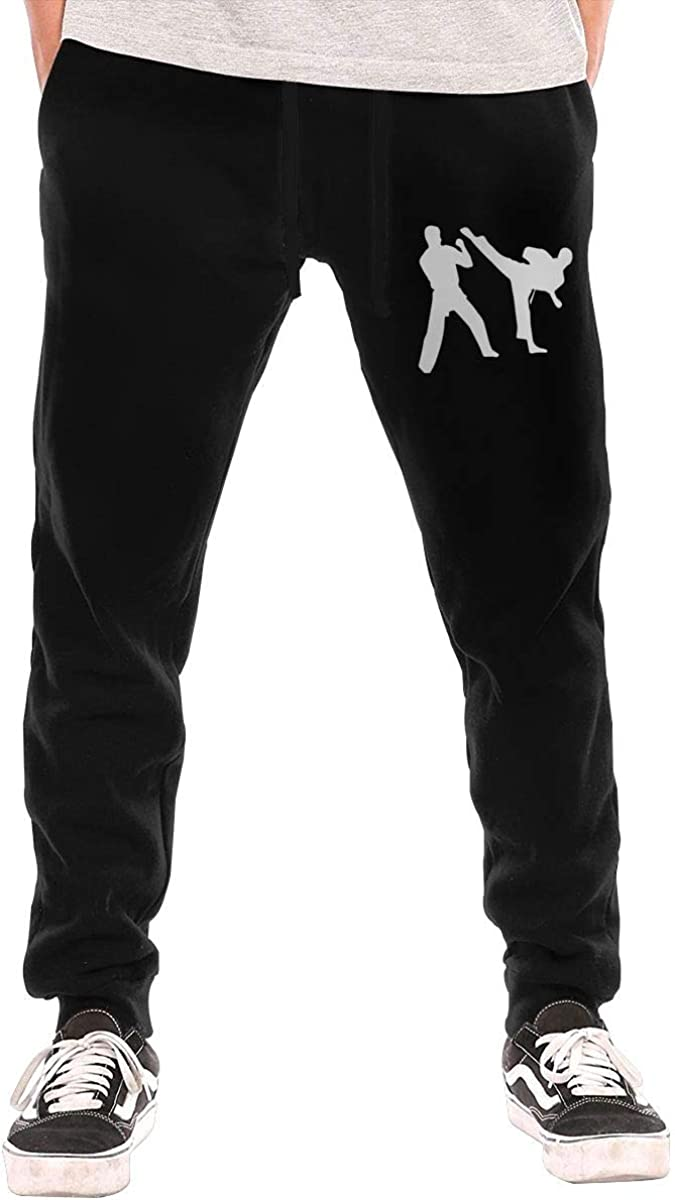 Liang Mens Karate Jogger Sweatpants Elastic Waist Fleece Sweatpants with Drawstring and Pockets S-3XL