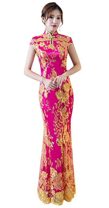 2d31effc7 Amazon.com: TOPJIN Women's Mermaid Classic Chinese Qipao Cheongsam Dress  Wedding Party Evening Gowns: Clothing