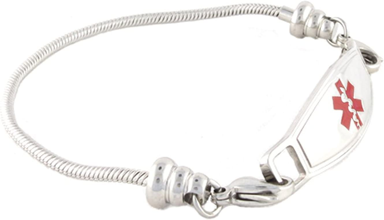 N Style ID Women s Beaded Pan-dorra Style PRE-ENGRAVED No MRI Medical Id Bracelet – Red 7.25