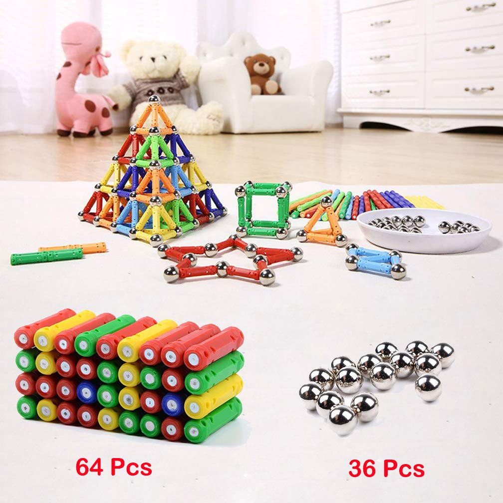 Syolee 100 Pieces Magnetic Building Blocks Magnet Sticks and Balls Educational Construction Stacking Toys for Adults and Children (Kids up 6 Years Old) by Syolee (Image #2)