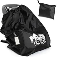 Gorilla Grip Car Seat Bag with Pouch and Luggage Tag, Adjustable Padded Backpack Straps, Many Colors, Easy Carry…