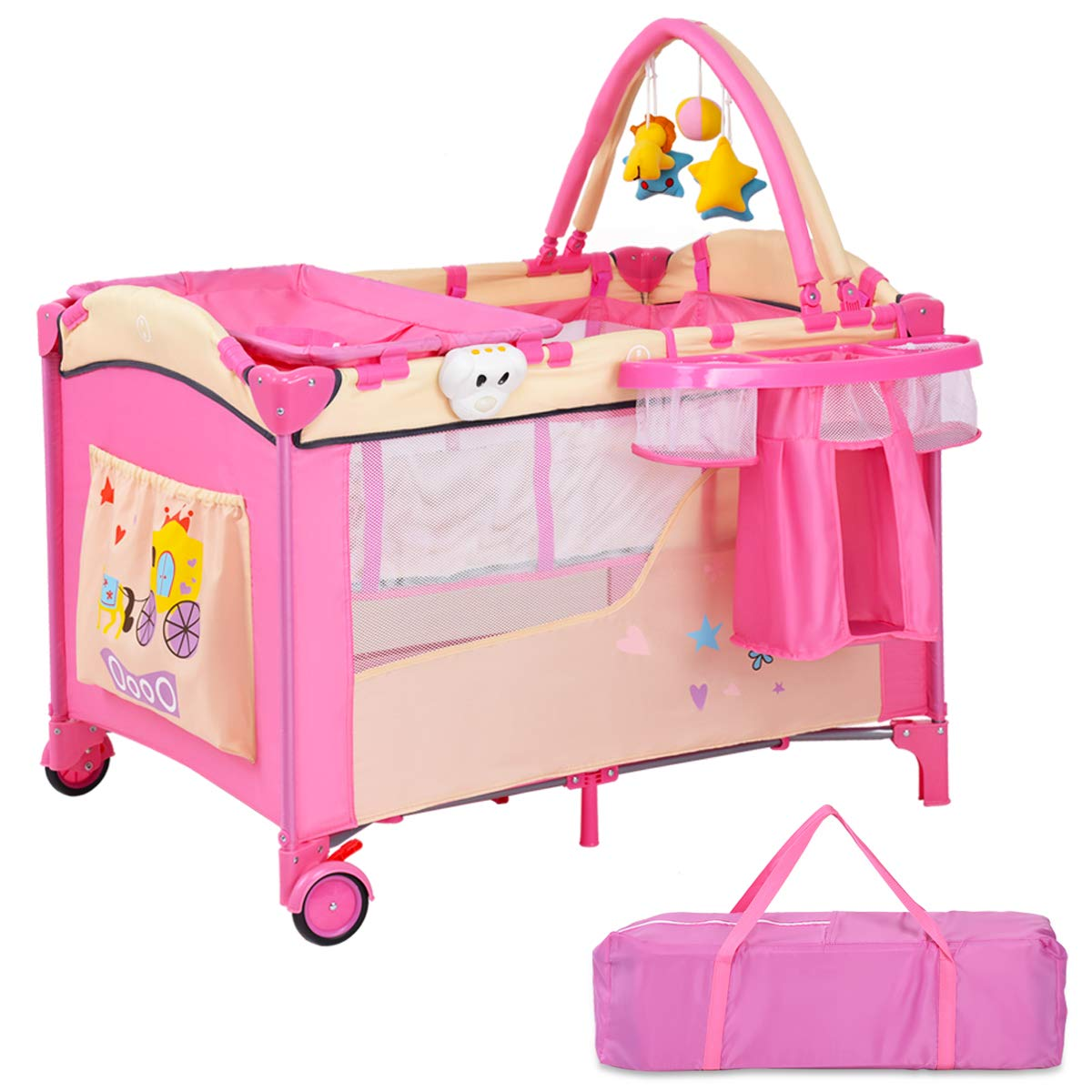 COSTWAY Pink Baby Infant Cot Bed Diaper Changer Toy Storage Bassinet Playpen W/Music Box & Carry Bag 2 Types Available with Storage Space Basket /with Mosquito Net (Infant Cot with Storage Space Basket)