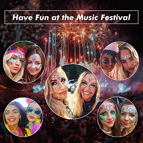 8 Packs Festival Face Jewels Rhinestones Gems Face Crystals Tattoo Jewelry for Forehead Body Decorations Party Supplies, Makeup Rhinestone Face Jewels Stickers, Women Mermaid Face Gems Glitter by Imagination Park (Image #3)