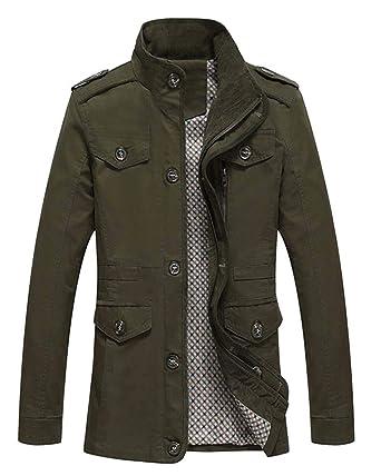 Herren Lange Jacke Herbst Kragen Coat Trenchcoat Mantel Langarm Bekleidung  Stehkragen Slim Fit Winter Jacken Outerwear  Amazon.de  Bekleidung 34e99488d0