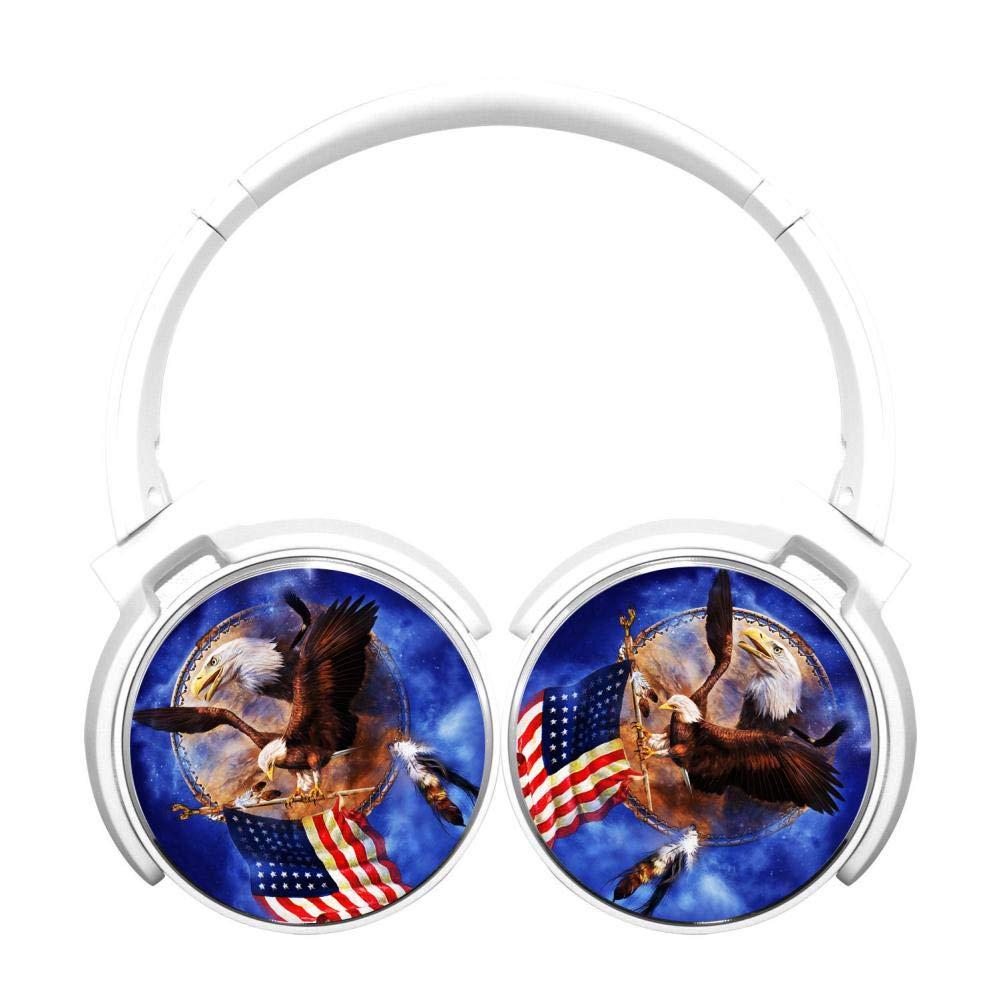 アメリカ国旗 イーグル Hi-Fi 重低音 オーバーイヤー ワイヤレス Bluetooth ヘッドホン マイク付き 快適な低反発素材 イヤホン 120時間連続待受 テレビ コンピューター 携帯電話用 B07PFJYHWT