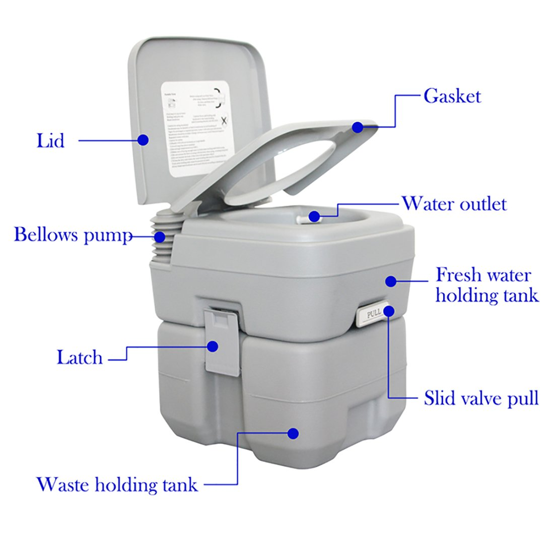 Amazon.com: ESport Portable Toilet For Camping RV Boat, Add Water Into  Fresh Water Tank With Double Compartments And Flush Mechanism Satisfaction  Guarantee, ...