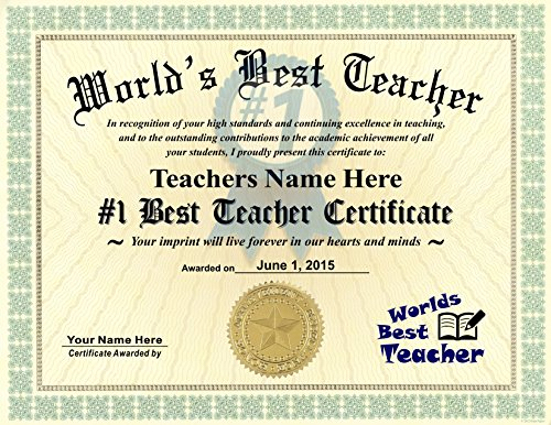 Worlds Best Teacher Certificate Award - Custom Printed by us with any NAME & DATE - 8.5 by 11 inches - Free Certificate Folder Included - Perfect Gift for your exceptional Teacher by Innovative ID Cards
