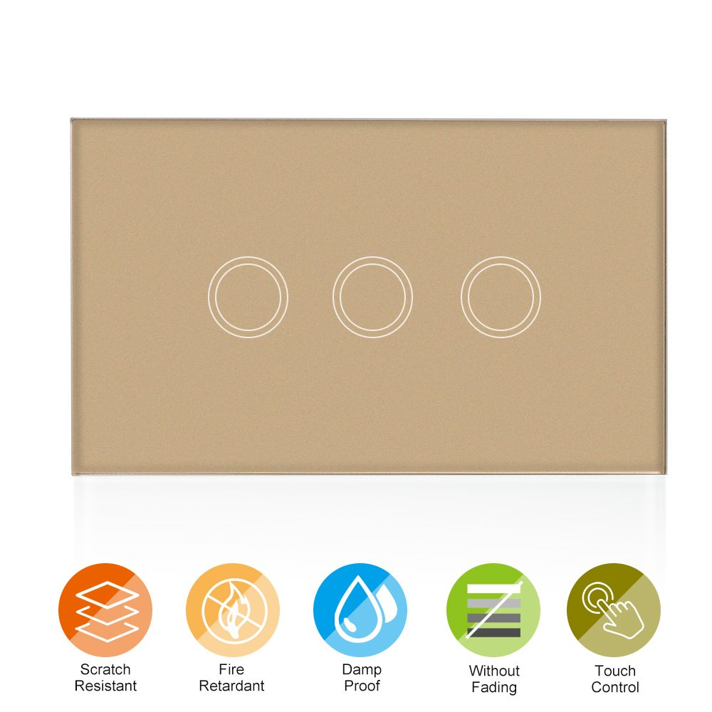 KKmoon US/AU Standard Wall Touch Switch Waterproof Fire Retardant High Sensitive Luxury Crystal Glass Switch Panel Touch Screen Single Fire Wire 1 Gang Champagne Gold Panel Home Automation
