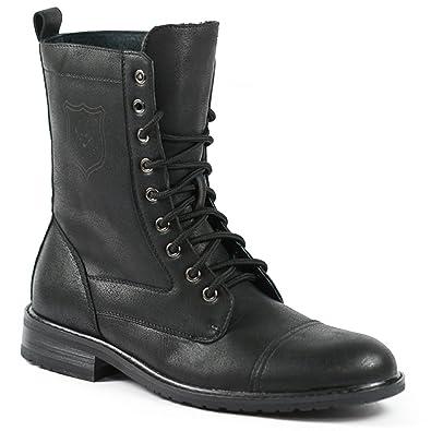 Amazon.com: Polar Fox MPX-801026 Black Mens Lace Up Military ...