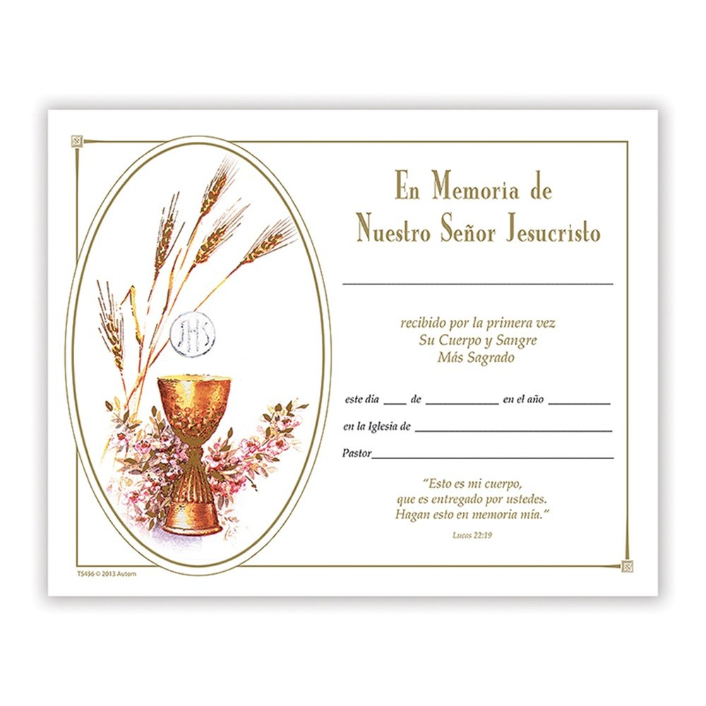 First Holy Communion Keepsake Certificates in Spanish, 100 Pack
