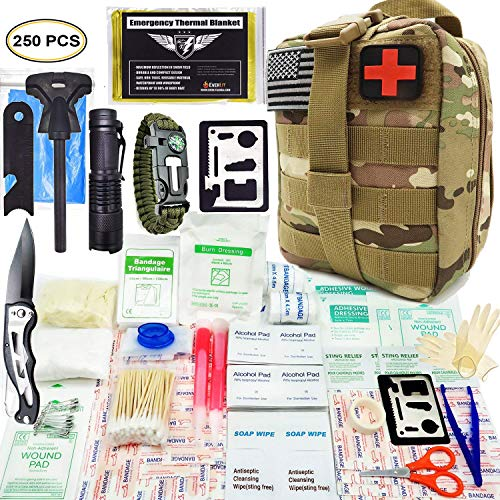EVERLIT 250 Pieces Survival First Aid Kit IFAK Molle System Compatible Outdoor Gear Emergency Kits Trauma Bag for Camping Boat Hunting Hiking Home Car Earthquake and Adventures (CP Camo) (Best Survival Medical Kit)