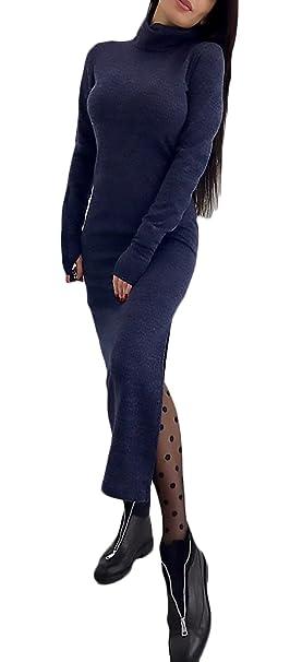 Vestidos Mujer Invierno Manga Larga Cuello Alto Ajustados Sencillos Color Solido Casual Vintage Elegantes Fashion Vestidos