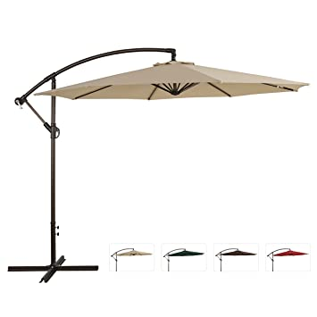 Ulax Furniture 10 Ft Outdoor Offset Hanging Market Umbrella, Cantilever  Patio Umbrella, Extra Thick